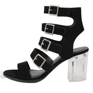Shoes - GOAL Black Multi Strap Buckle Clear Heel Sandal